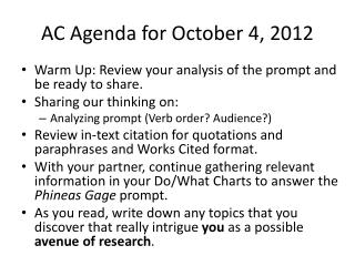 AC Agenda for October 4, 2012
