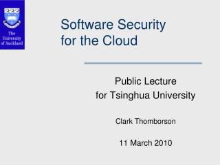 Software Security for the Cloud
