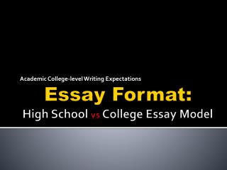 Essay Format:  High School  vs  College  Essay Model