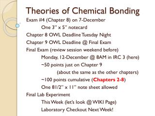 Theories of Chemical Bonding
