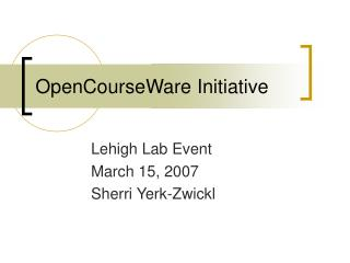 OpenCourseWare Initiative