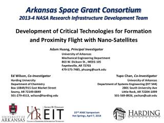 Arkansas Space Grant Consortium 2013-4 NASA Research Infrastructure Development Team