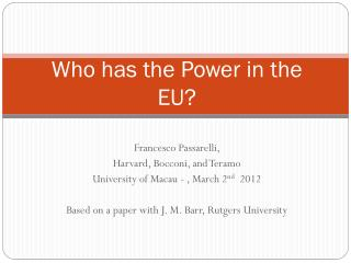 Who has the Power in the EU?