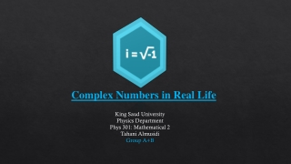 Complex Numbers in Real Life