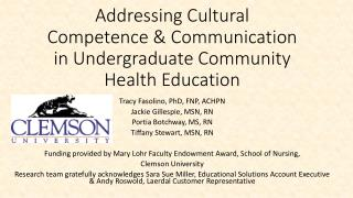 Addressing Cultural Competence & Communication in Undergraduate Community Health Education