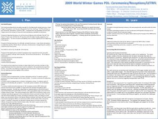 2009 World Winter Games PDL:  Ceremonies/Receptions/LETRFL