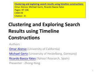 Clustering and Exploring  Search Results using Timeline  Constructions