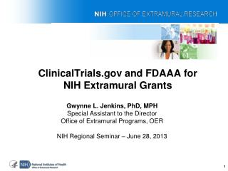 ClinicalTrials.gov and FDAAA for NIH Extramural Grants