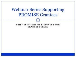 Webinar Series Supporting PROMISE Grantees