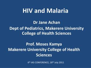 HIV and Malaria