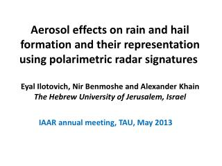IAAR annual meeting, TAU, May 2013