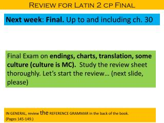Review for Latin 2 cp Final