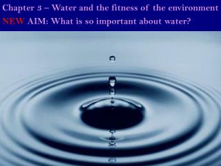 NEW  AIM: What is so important about water?