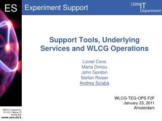 Support Tools, Underlying Services and WLCG Operations