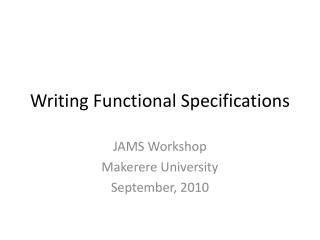 Writing Functional Specifications