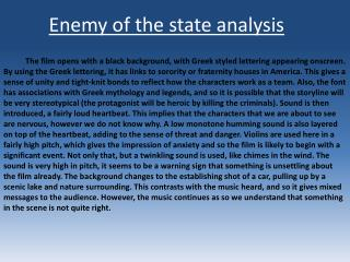 Enemy of the state analysis