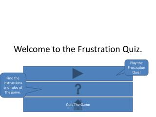 Welcome to the Frustration Quiz.