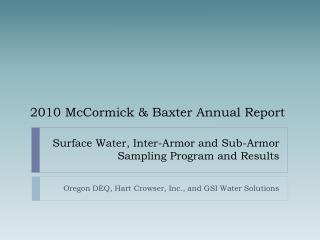 Surface Water, Inter-Armor and Sub-Armor Sampling Program and Results
