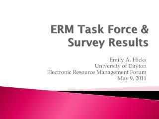 ERM Task Force & Survey Results