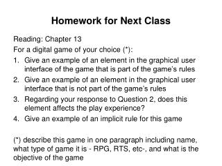 Homework for  Next Class
