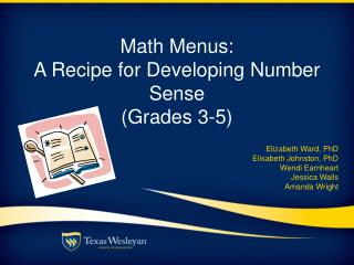 Math Menus:  A Recipe for Developing Number Sense (Grades 3-5)