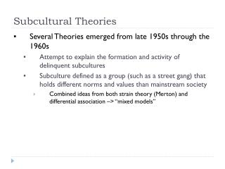 Subcultural Theories