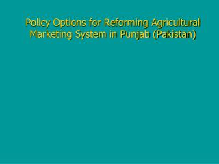 Policy Options for Reforming Agricultural Marketing System in Punjab (Pakistan)