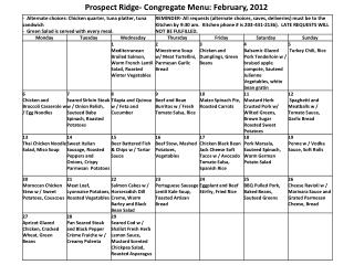 Prospect Ridge-  Congregate Menu:  February, 2012