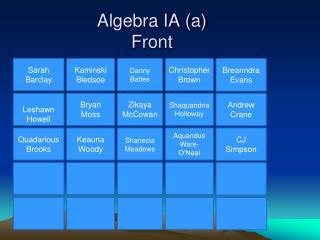 Algebra IA (a) Front