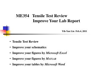 Tensile Test Review   Improve your  schematics   Improve your figures by  Microsoft Excel