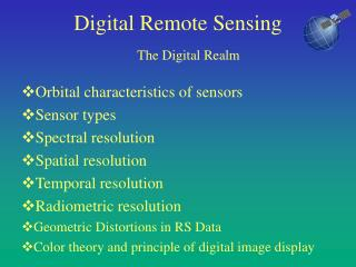 Digital Remote Sensing