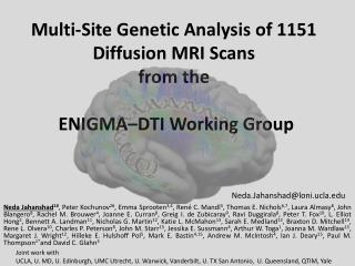 Multi-Site Genetic Analysis of 1151 Diffusion MRI Scans from the  ENIGMA–DTI Working Group