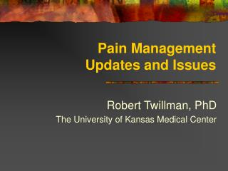 Pain Management  Updates and Issues