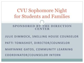 CVU Sophomore Night  for Students and Families