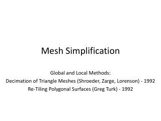 Mesh Simplification