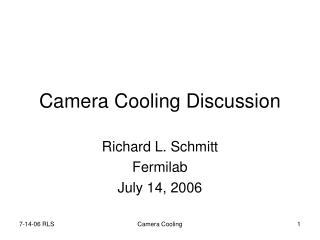 Camera Cooling Discussion
