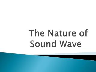 The Nature of Sound Wave