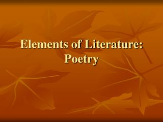Elements of Literature: Poetry