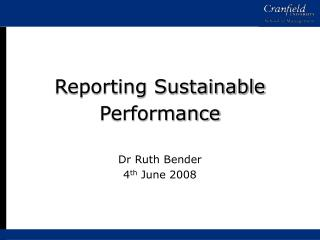 Reporting Sustainable Performance