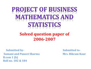 Solved question paper of  2006-2007