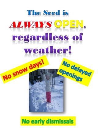 The Seed is  ALWAYS OPEN , regardless of weather!