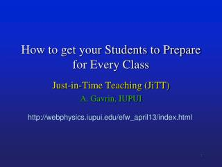 How to get your Students to Prepare for Every Class