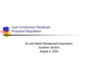 Coal Combustion Residuals Proposed Regulation