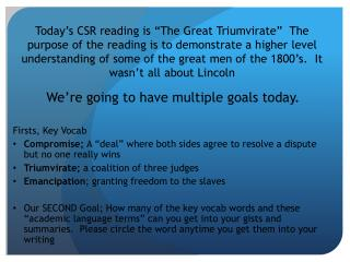 We're going to have multiple goals today. Firsts, Key Vocab