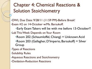 Chapter 4: Chemical Reactions & Solution Stoichiometry