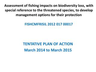 TENTATIVE PLAN OF ACTION  March 2014 to March 2015