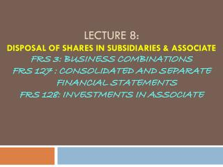 Disposal of Shares in Subsidiaries
