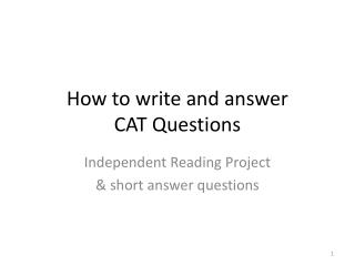 How to  write and answer  CAT  Questions