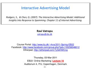 Interactive Advertising Model