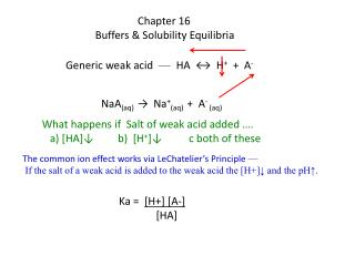 Chapter 16 Buffers & Solubility  Equilibria